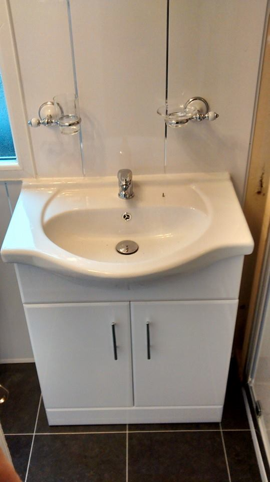 static caravan new sink in bathroom