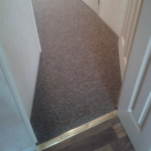 caravan carpets in hallway of static caravan